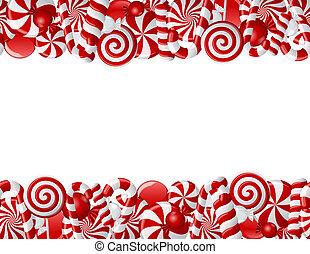 caramelle, cornice, fatto, bianco rosso