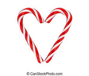 caramelle, cuore, fatto, isolato, natale