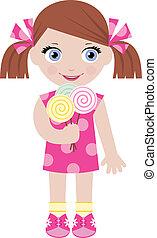 caramelle, piccola ragazza, zucchero