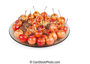caramello, isolato, fondo, mano, mele, granchio, tuffato, bianco