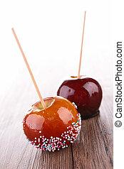 caramelo, maçãs