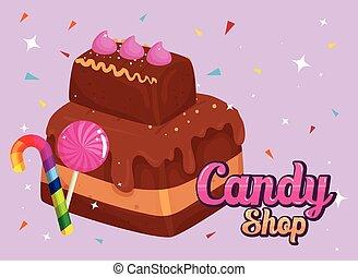 caramels, magasin, bonbon, affiche, lutin