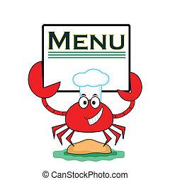 carangueijo, bandeira, menu