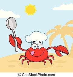 carangueijo, personagem, cozinheiro, colher, segurando, caricatura, mascote