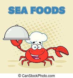 carangueijo, personagem, cozinheiro, segurando, platter, caricatura, mascote