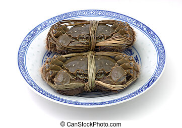 caranguejos, prato, viver, shanghai