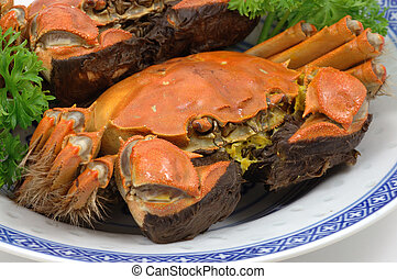 caranguejos, shanghai, cozinhado