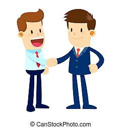 caras, dos manos, hombre de negocios, sacudida, feliz
