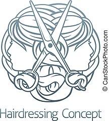 caras, estilista, conceito, cabeleireiras, cabelo, tesouras