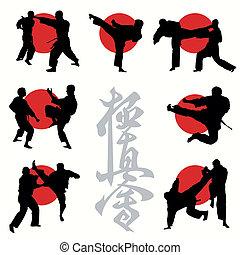 caratê, kyokushin, jogo, silhuetas