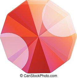 Carat ruby icon, cartoon style