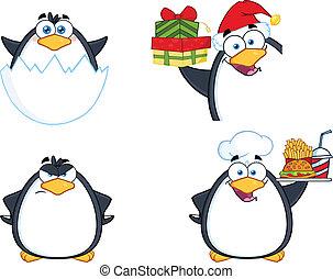 carattere, 11, set, collezione, pinguino