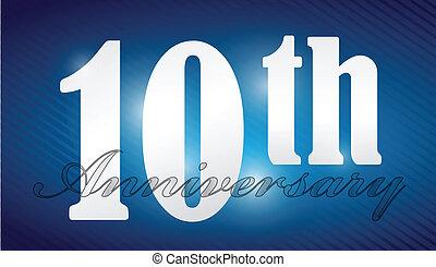 carattere, anniversario, 10, argento