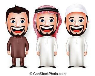 carattere, arabo, uomo, cartone animato, saudita
