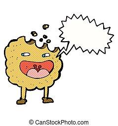 carattere, bolla discorso, cartone animato, biscotto