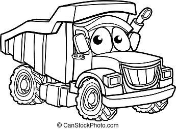 carattere, camion, cartone animato, discarica