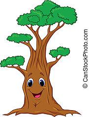 carattere, cartone animato, albero