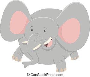carattere, cartone animato, animale, elefante