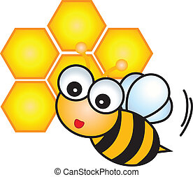 carattere, cartone animato, ape