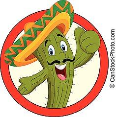 carattere, cartone animato, cactus