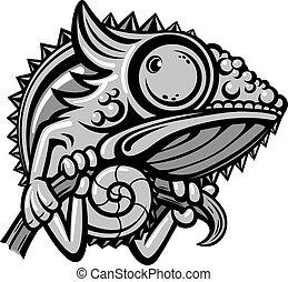 carattere, cartone animato, camaleonte