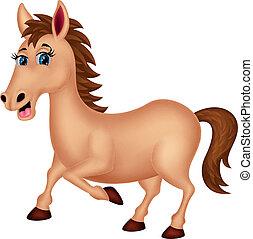 carattere, cartone animato, cavallo