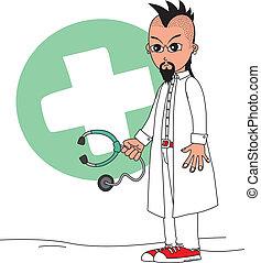 carattere, cartone animato, dottore