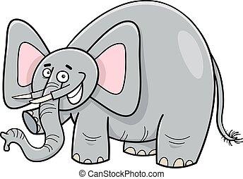 carattere, cartone animato, elefante