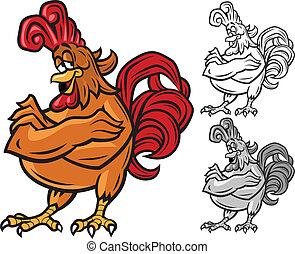 carattere, cartone animato, gallo