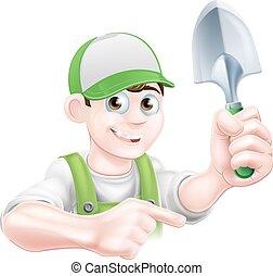 carattere, cartone animato, indicare, giardiniere