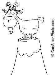 carattere, cartone animato, longhorn, delineato