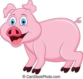 carattere, cartone animato, maiale