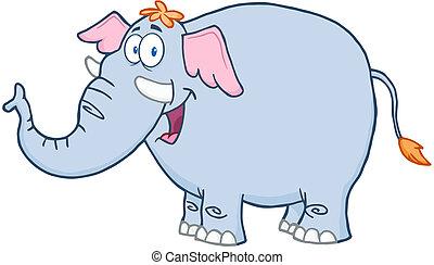 carattere, cartone animato, mascotte, elefante