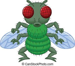 carattere, cartone animato, mosca