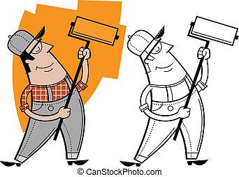 carattere, cartone animato, pittore