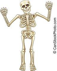 carattere, cartone animato, scheletro