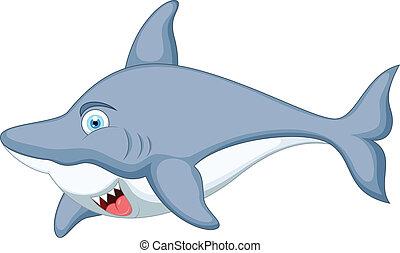 carattere, cartone animato, squalo