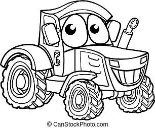 carattere, cartone animato, trattore