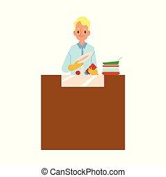 carattere, cartone animato, uomo, chores, piatti, domestico, lavaggio, cucina