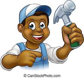 carattere, cartone animato, uomo tuttofare, carpentiere, nero