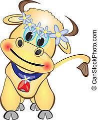 carattere, cartone animato, vitello