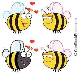 carattere, -, collezione, ape, 1, cartone animato, mascotte