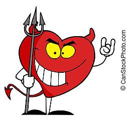 carattere, cuore rosso