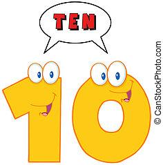 carattere, dieci, numero, mascotte, cartone animato