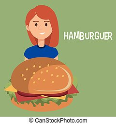 carattere, donna, hamburger