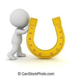 carattere, dorato, spinta, 3d, ferro cavallo