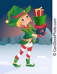 carattere, elfo, cartone animato, gifts.