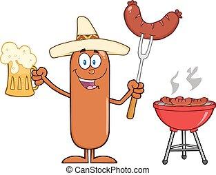 carattere, felice, messicano, salsiccia