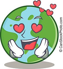carattere, globo, amore, cartone animato, mondo