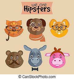 carattere, hipster, animali, cartone animato, collezione